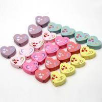 Holzperlen, Holz, flacher Herz, Einbrennlack, 17mm, Bohrung:ca. 1mm, verkauft von Tasche
