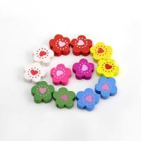 Holzperlen, Holz, Blume, Einbrennlack, 19mm, Bohrung:ca. 2mm, verkauft von Tasche