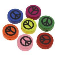 Holzperlen, Holz, flache Runde, Einbrennlack, 17mm, Bohrung:ca. 2mm, 50PCs/Tasche, verkauft von Tasche