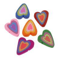 Holzperlen, Holz, flacher Herz, Einbrennlack, 21x26mm, Bohrung:ca. 2mm, 50PCs/Tasche, verkauft von Tasche