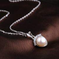 925 Sterling Silber Anhänger, 925er Sterling Silber, mit ABS-Kunststoff-Perlen, silberfarben plattiert, verschiedene Stile für Wahl & für Frau & mit Strass, keine, 14x16mm, verkauft von PC