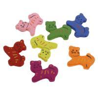 Holzperlen, Holz, Katze, Einbrennlack, 33x27mm, Bohrung:ca. 2mm, 200PCs/Tasche, verkauft von Tasche