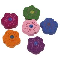 Holzperlen, Holz, Blume, Einbrennlack, 20mm, Bohrung:ca. 1.5mm, 500PCs/Tasche, verkauft von Tasche