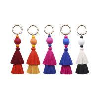 Baumwollfaden Schlüsselanhänger, mit Holz & Zinklegierung, QuasteTroddel, Platinfarbe platiniert, unisex, keine, 35x150mm, verkauft von PC
