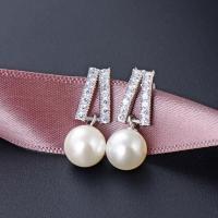 925 Sterling Silber Tropfen Ohrring, mit Muschelkern, für Frau & mit Strass, Silberfarbe, 6.8x21.4mm, verkauft von Paar