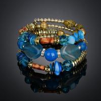 Streifen Achat Wrap Armband, mit Zinklegierung, plattiert, für Frau & 3-Strang & mit Strass, keine, verkauft per ca. 8 ZollInch Strang