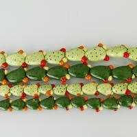 Handgewickelte Perlen, Lampwork, Opuntia Stricta, keine, verkauft von Strang