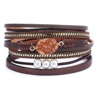 Kunstleder Armband, mit Zinklegierung, plattiert, für Frau & Multi-Strang, keine, 380x15mm, verkauft von PC