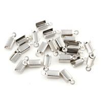 Eisen Endkappe, Platinfarbe platiniert, frei von Nickel, Blei & Kadmium, 5x14x5mm, Bohrung:ca. 1.5mm, 200PaarePärchen/Tasche, verkauft von Tasche