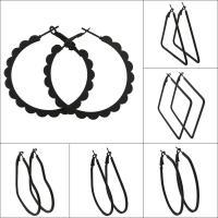 Eisen Hebel Rückseiten Ohrring, Einbrennlack, verschiedene Größen vorhanden & verschiedene Stile für Wahl & für Frau, schwarz, frei von Nickel, Blei & Kadmium, verkauft von Paar