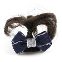 Haarklammer, Kunststoff, mit Künstliche Faser & Stoff, Schleife, für Frau, blau, 48x34x16mm, verkauft von PC