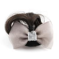 Haarklammer, Kunststoff, mit Künstliche Faser & Stoff, Schleife, für Frau, grau, 58x33x14mm, verkauft von PC