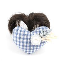 Haarklammer, Kunststoff, mit Künstliche Faser & Stoff, Herz, für Frau, blau, 52x36x21mm, verkauft von PC