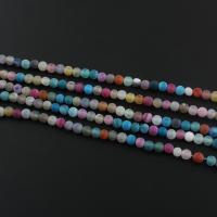 Natürliche Effloresce Achat Perlen, Auswitterung Achat, rund, gemischte Farben, 4x4mm, Bohrung:ca. 1mm, Länge:ca. 15.3 ZollInch, 5SträngeStrang/Menge, ca. 95PCs/Strang, verkauft von Menge