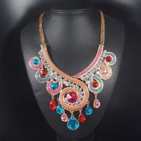 Kristall Zinklegierung Halskette, mit Kristall, mit Verlängerungskettchen von 7cm, plattiert, Twist oval & für Frau & mit Strass, keine, frei von Nickel, Blei & Kadmium, verkauft per ca. 18.1 ZollInch Strang