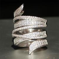 Zinklegierung Fingerring , Platinfarbe platiniert, Micro pave Strass & für Frau, frei von Nickel, Blei & Kadmium, verkauft von PC