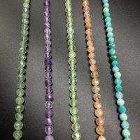 Mischedelstein Perlen, Edelstein, poliert, verschiedenen Materialien für die Wahl, 4mm, Bohrung:ca. 1mm, ca. 80-85PCs/Strang, verkauft von Strang