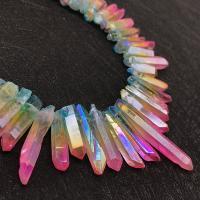 Natürliche Beschichtung Quarz Perlen, Natürlicher Quarz, bunte Farbe plattiert, 24-40mm, Bohrung:ca. 1mm, ca. 60PCs/Strang, verkauft von Strang