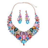 Zinklegierung Schmucksets, Ohrring & Halskette, mit Kristall, mit Verlängerungskettchen von 8, plattiert, facettierte & mit Strass, keine, frei von Blei & Kadmium, 34cm, verkauft per 13.3 ZollInch Strang