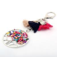 Zink-Legierung Perle Karabiner mit Schlüsselringen, mit Baumwollfaden & Natürlicher Kies, silberfarben plattiert, unisex, keine, 55mm, verkauft von PC