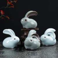 Tee Haustierdekoration, Porzellan, Hase, verschiedene Stile für Wahl, 70x70mm, verkauft von PC