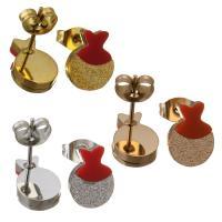 Edelstahl Ohrringe, Fisch, für Frau & satiniert, keine, 8x11mm, 3PaarePärchen/Menge, verkauft von Menge
