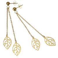 Edelstahl Tropfen Ohrring, Blatt, goldfarben plattiert, für Frau, 78mm,11x19mm, verkauft von Paar