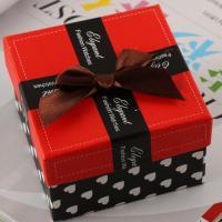 Papier Uhrkasten, Quadrat, mit Dekoration von Bandschleife, farbenfroh, 90x90x60mm, verkauft von PC