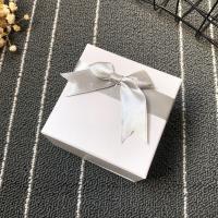 Papier Uhrkasten, Quadrat, mit Dekoration von Bandschleife, weiß, 90x90x60mm, verkauft von PC