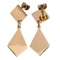 Edelstahl Tropfen Ohrring, Rósegold-Farbe plattiert, für Frau, 33mm,13x20mm, verkauft von Paar