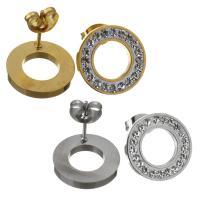 Edelstahl Ohrringe, Kreisring, für Frau & mit Strass, keine, 14mm, verkauft von Paar