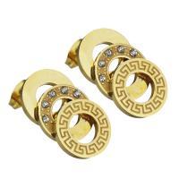 Edelstahl Ohrringe, goldfarben plattiert, für Frau & mit Strass, 12x21mm, ca. 12PaarePärchen/Menge, verkauft von Menge