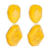 Planke Tropfen Ohrring, mit Zinklegierung, goldfarben plattiert, für Frau, keine, frei von Nickel, Blei & Kadmium, 73x23mm, verkauft von PC