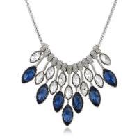 Kristall Zinklegierung Halskette, mit Kristall, Platinfarbe platiniert, für Frau & mit Strass, keine, frei von Nickel, Blei & Kadmium, 45mm, verkauft per ca. 17.3 ZollInch Strang
