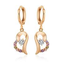 Messing Tropfen Ohrringe,  , Herz, plattiert, verschiedene Stile für Wahl & für Frau & mit Strass, keine, frei von Nickel, Blei & Kadmium, 36mmx9mm, verkauft von Paar