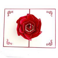 Papier 3D Grußkarte, Blume, geschnitzt, handgefertigt & hohl, rot, 100x150mm, verkauft von PC