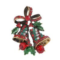Zinklegierung Brosche, Weihnachtsglocke, Messing antik Farbe überzogen, für Frau & mit Strass, frei von Nickel, Blei & Kadmium, 38mmx27mm, verkauft von PC