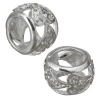 Messing European Perlen, hohl, Silberfarbe, frei von Nickel, Blei & Kadmium, 10x7x10mm, Bohrung:ca. 6mm, ca. 100PCs/Menge, verkauft von Menge