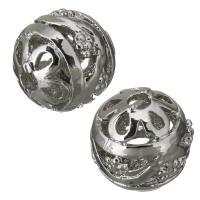 Messing hohle Perlen, silberfarben plattiert, frei von Nickel, Blei & Kadmium, 12mm, Bohrung:ca. 2.5mm, ca. 100PCs/Menge, verkauft von Menge
