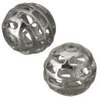 Messing hohle Perlen, silberfarben plattiert, frei von Nickel, Blei & Kadmium, 15mm, Bohrung:ca. 1.5mm, ca. 100PCs/Menge, verkauft von Menge