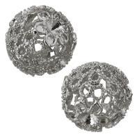 Messing hohle Perlen, silberfarben plattiert, frei von Nickel, Blei & Kadmium, 15x16x15mm,3mm, Bohrung:ca. 1mm, ca. 100PCs/Menge, verkauft von Menge