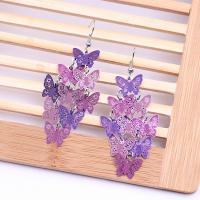 Messing Tropfen Ohrringe, Schmetterling, plattiert, Einbrenn-Lack & für Frau, keine, frei von Nickel, Blei & Kadmium, 120*36mm, verkauft von Paar
