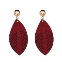 PU Leder Tropfen Ohrring, mit Zinklegierung, Blatt, goldfarben plattiert, für Frau, keine, 23*55mm, verkauft von Paar