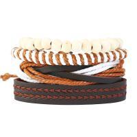 PU Leder Armband-Set, mit Kunstleder & Hanfgarn, unisex, 60mm, Länge:ca. 8.6 ZollInch, 4SträngeStrang/setzen, verkauft von setzen
