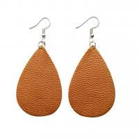 PU Leder Tropfen Ohrring, für Frau, keine, frei von Nickel, Blei & Kadmium, 70mm, 5PaarePärchen/Menge, verkauft von Menge