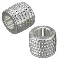 Messing European Perlen, Silberfarbe, frei von Nickel, Blei & Kadmium, 9x7.50x9mm, Bohrung:ca. 5mm, ca. 100PCs/Menge, verkauft von Menge
