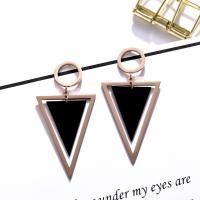 Titanstahl Tropfen Ohrring, Sterling Silber Stecker, Dreieck, plattiert, für Frau, 60mm,14mm, verkauft von Paar