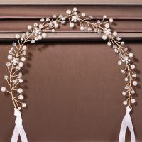 Stirnband, Eisen, mit ABS-Kunststoff-Perlen & Satinband & Kristall, goldfarben plattiert, für Frau & mit Strass, 330mm,30mm, verkauft von PC