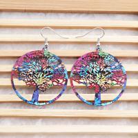 Messing Tropfen Ohrringe, Glücksbaum, Spritzlackierung, Koreanischen Stil & für Frau, farbenfroh, frei von Nickel, Blei & Kadmium, 60*40mm, verkauft von Paar