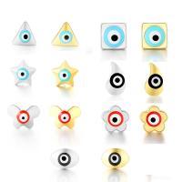 Messing Ohrstecker, plattiert, böser Blick- Muster & verschiedene Stile für Wahl & für Frau, keine, frei von Nickel, Blei & Kadmium, verkauft von Paar